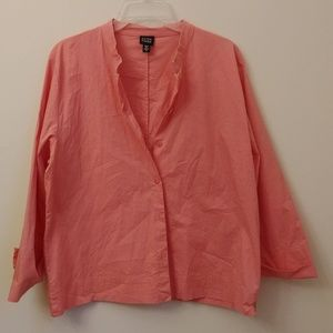 Eileen Fisher Coral Pink Button Down Shirt Top